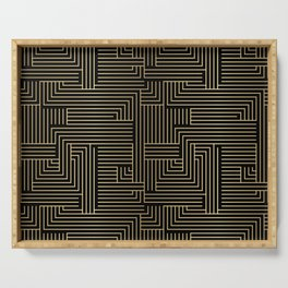 Black and gold art-deco geometric pattern. Serving Tray