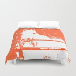 White Horse - Coral Red Duvet Cover