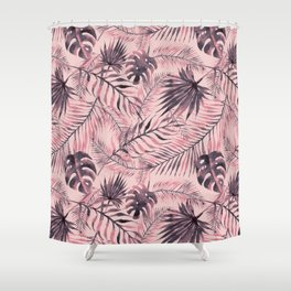 Jungle leaves pattern - Pink Shower Curtain