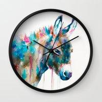donkey Wall Clocks featuring Donkey by Slaveika Aladjova