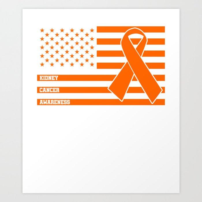 Kidney Cancer Awareness T Shirt Orange Us Flag Tee Art Print By Homeoftshirts Society6