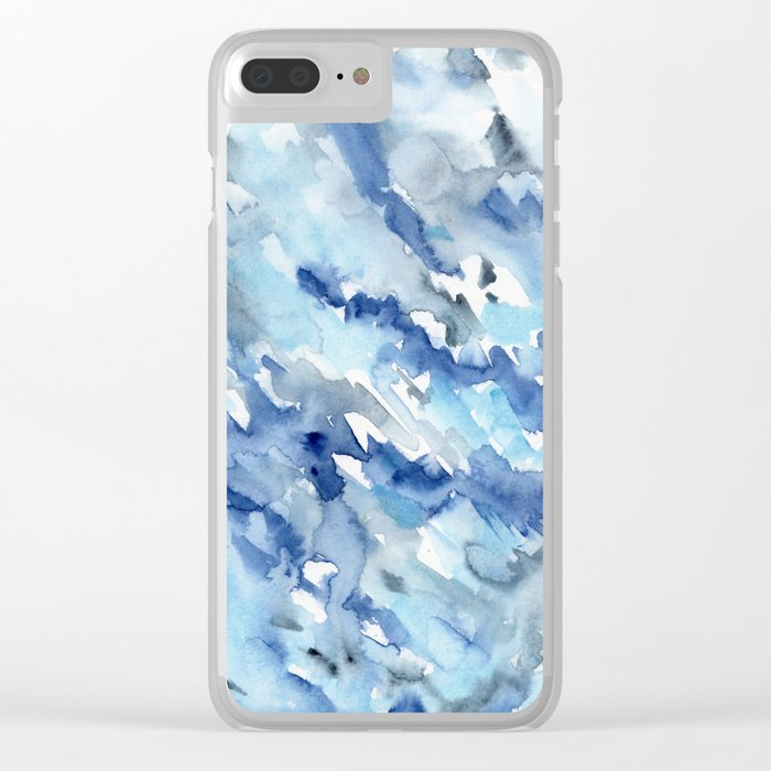 Watercolor madness in blue Clear iPhone Case