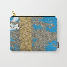 Urban Texture Photography - Painted Asphalt - Blue and Yellow Carry-All Pouch