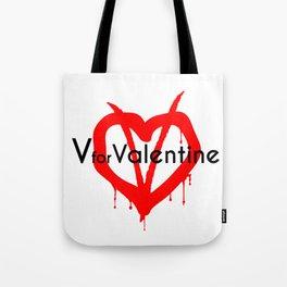 V for Valentine. Happy Valentine's day Tote Bag