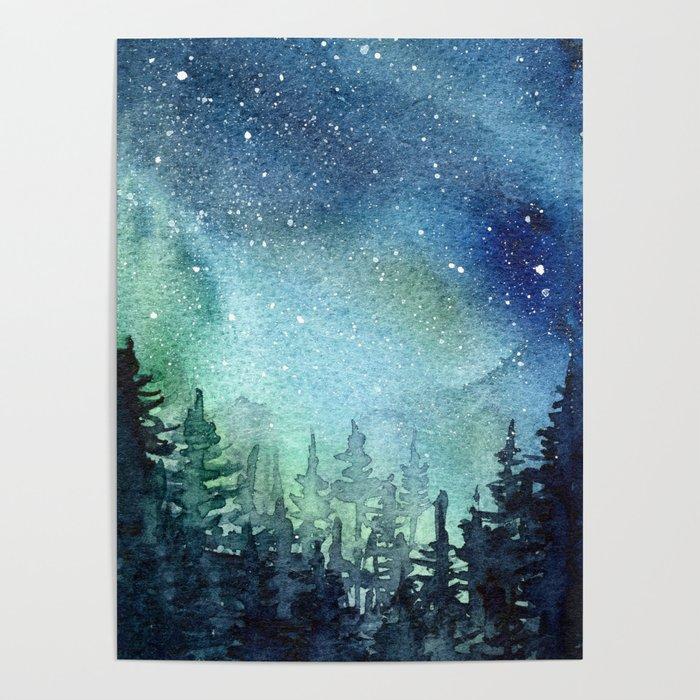 Galaxy Watercolor Aurora Borealis Painting Poster