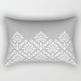 Damask Baroque Part Pattern White on Grey Rectangular Pillow