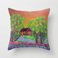 Meadow in the Sunrise Throw Pillow