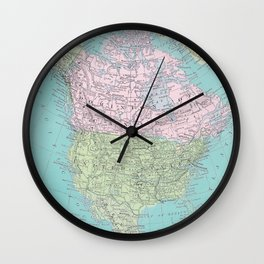 Vintage North America Map Wall Clock