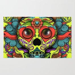 Cute Skull Dia de Los Muertos Rug