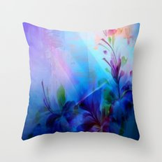 Sunset Painterly Floral Throw Pillow