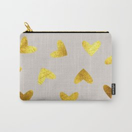 gold heart pattern gray Carry-All Pouch