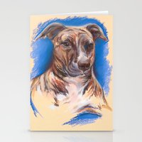 pit bull Stationery Cards featuring Brindle Pit Bull Portrait by M.M. Anderson Designs