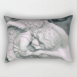Sleeping Angel Statue Rectangular Pillow
