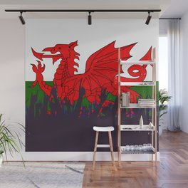 Welsh Flag with Audience Wall Mural