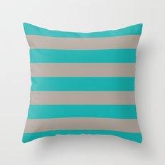Tan and Turquoise Stripes Throw Pillow