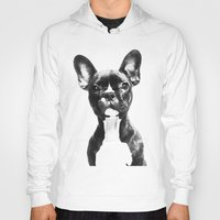 french bulldog Hoodies featuring French BullDog by Maioriz Home