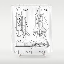 Nasa Space Shuttle Patent - Nasa Shuttle Art - Black And White Shower Curtain