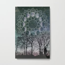 Turquoise Moon Phase Metal Print