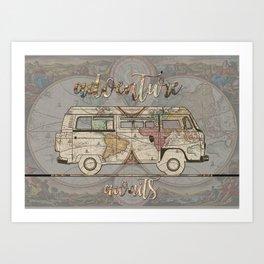 adventure awaits world map design 1 Art Print