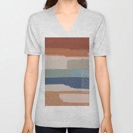 Abstract Terracotta Unisex V-Neck