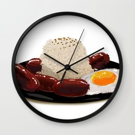 longsilog (pork longganisa, egg, fried rice) -filipino food Wall Clock