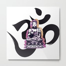 Ohm Buddha Sunset Metal Print