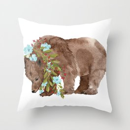 Bear with flower boa Throw Pillow
