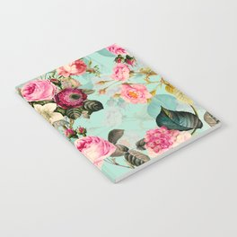 Vintage & Shabby Chic - Summer Teal Roses Flower Garden Notebook