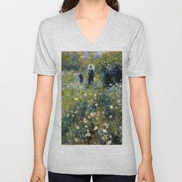 """Auguste Renoir """"Femme avec parasol dans un jardin"""" Unisex V-Neck"""