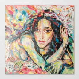 Model with flowers Canvas Print