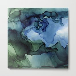Blue Green Waves Abstract Ink Painting Metal Print