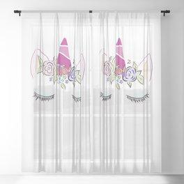 Sleepy Unicorn Sheer Curtain