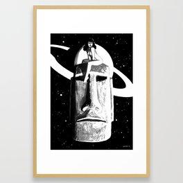 Intergalactic Moai Pin Up Framed Art Print