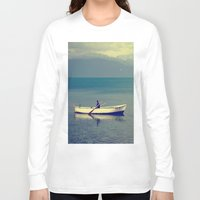 rowing Long Sleeve T-shirts featuring rowing a boat in egirdir lake by gzm_guvenc