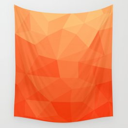 Abstract Geometric Gradient Pattern between Pure Red and very light Orange Wall Tapestry