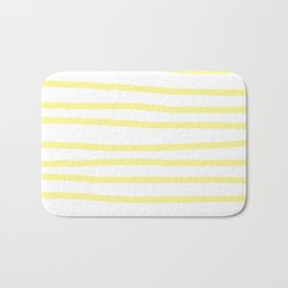 Simply Drawn Stripes in Pastel Yellow Bath Mat