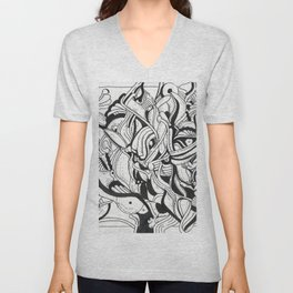 Squiggly Wiggly Lines Unisex V-Neck