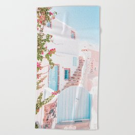 Santorini Greece Mamma Mia Pink House Travel Photography in hd. Beach Towel