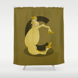 Pony Monogram Letter C Shower Curtain