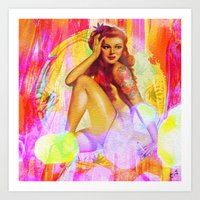 "tatoo Art Prints featuring "" Miss tatoo ""  by shiva camille"