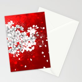 Red skies and white sakuras Stationery Cards