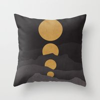 budi Throw Pillows featuring Rise of the golden moon by Picomodi