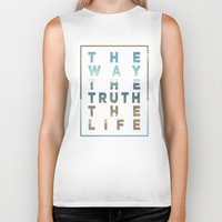 pocketfuel Biker Tanks featuring The Way; The Truth; The Life by Pocket Fuel