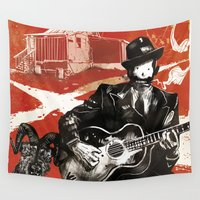 allyson johnson Wall Tapestries featuring Delta Blues - Robert Johnson & Friends by Neil McKinney