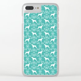 Brittany Spaniel florals silhouettes dog breed pet portrait gifts blue Clear iPhone Case