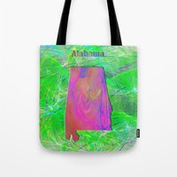 alabama Tote Bags featuring Alabama Map by Roger Wedegis
