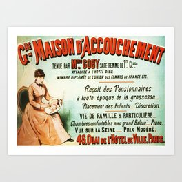 Maison d' Accouchement, Birthing Home - Vintage French Advertising Poster Art Print