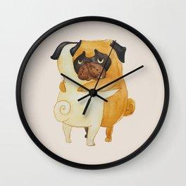 Pug Hugs Watercolor Wall Clock