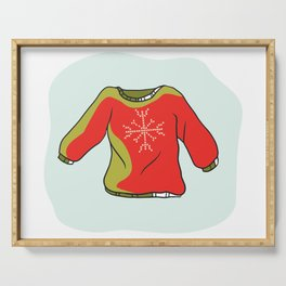 Nordic Christmas Jumper Vector Clipart. Hand Drawn Embroidered Ugly Sweater Serving Tray