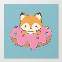 Kawaii fox and donut Canvas Print